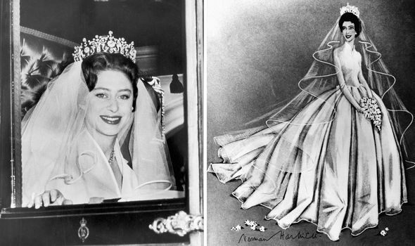 Princess Margarets simple wedding dress was set off by her grand tiara Image Getty