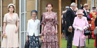 Princesses Beatrice and Eugenie join the Queen at Buckingham Palace garden party – in STUNNING dresses Photo C Getty Images