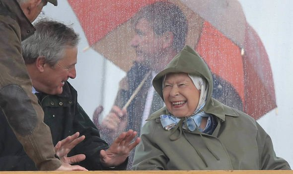 Queen news The Queen braved the rain yesterday to visit the Royal Windsor Horse Show yesterday Image PA