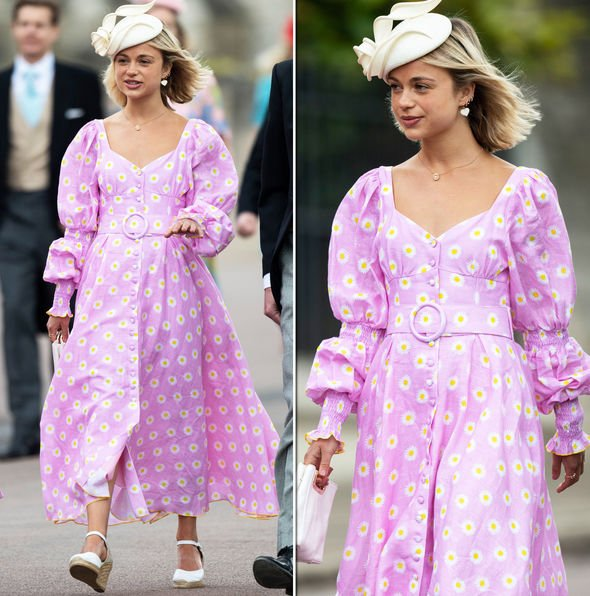 Royal Wedding Lady Amelia Windsor wore a bright pink dress for the event Image GETTY