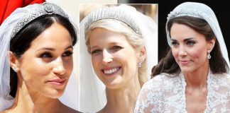 Royal Wedding Lady Gabriella Windsor tiara vs Meghan Kate an Eugenie's Image GETTY