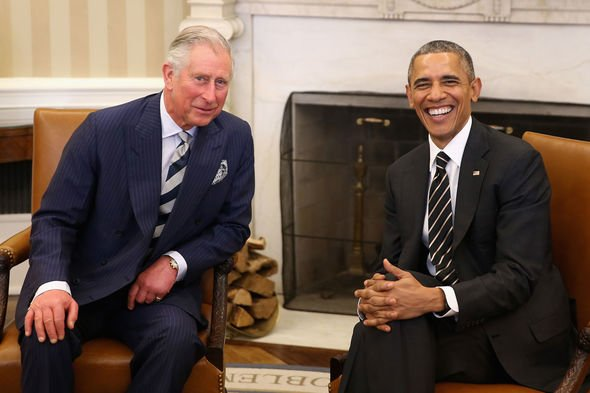 The Prince of Wales with former President Obama in Washington DC Image GETTY