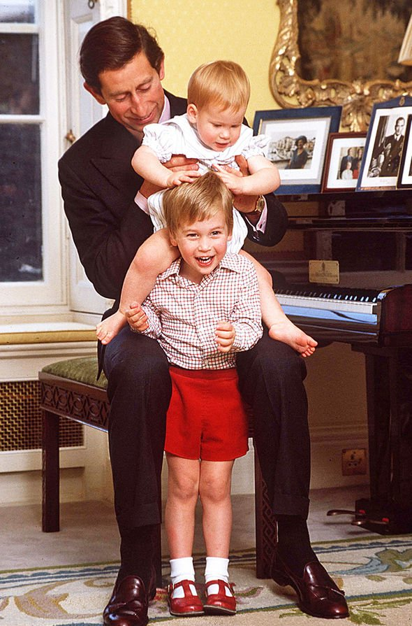 The Prince of Wales with his two sons the dukes of Cambridge and Sussex Image Tim Graham Getty
