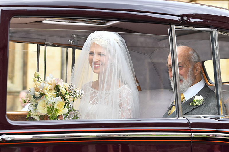 The bride Lady Gabriella looked beautiful as she arrived wearing a stunning veil and tiara Photo C iimage