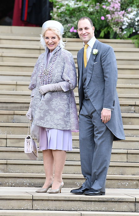 The mother of the bride Princess Michael of Kent and her son Lord Frederick Windsor arrive for the wedding Photo C iimage