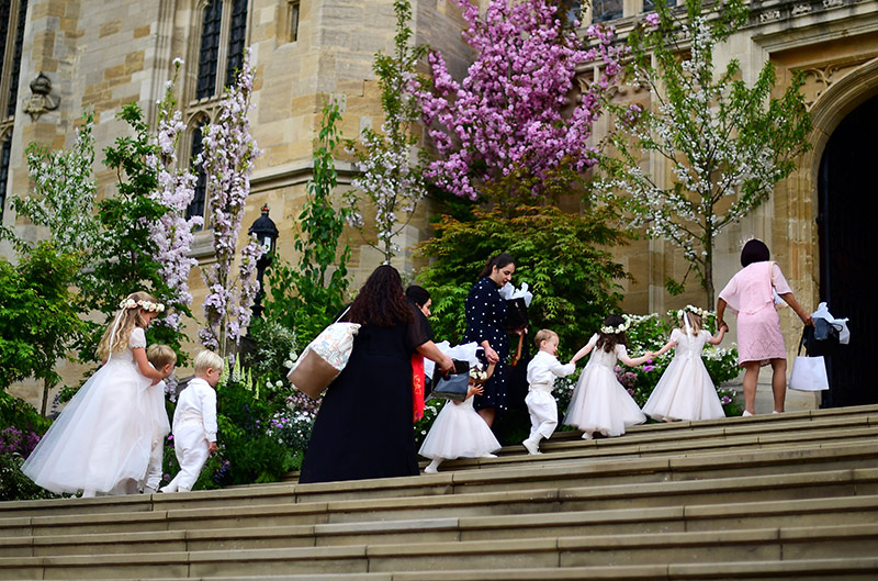 The young bridal party of six bridesmaids and three pageboys climb the steps to the chapel Photo C iimage