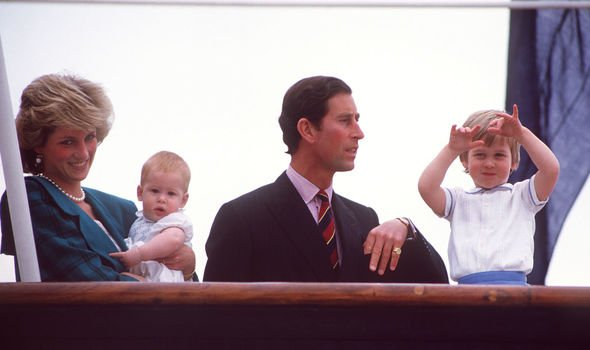 The young princes with Diana and Charles in Image Getty