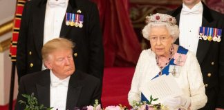 A video shows President Donald Trump seemingly falling asleep during the Queens Speech at the State Banquet on Monday Photo C GETTY IMAGES