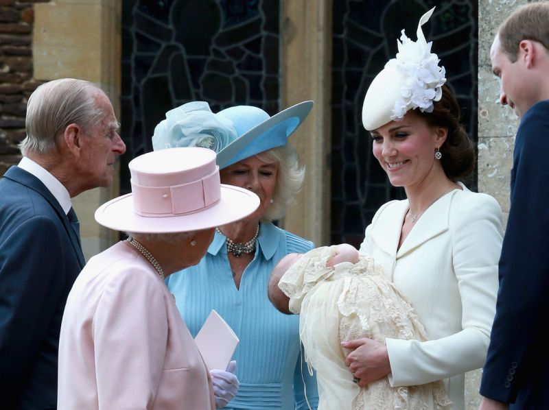 Again the Queen and Prince Philip are pictured at Princess Charlottes christening in July Photo Getty Images