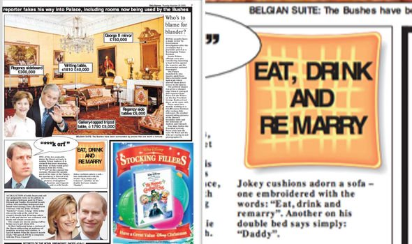 Coverage at the time reported on Andrews choice of decor and the Remarry cushion Image The Daily Express