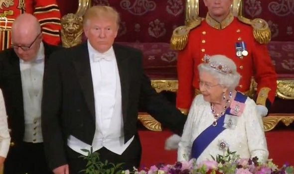 Donald Trump UK visit The president touched the Queen on the back at the banquet Image Sky