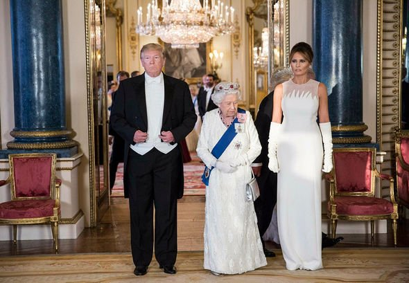Donald Trump attends his first state banquet hosted by the Queen Image GETTY