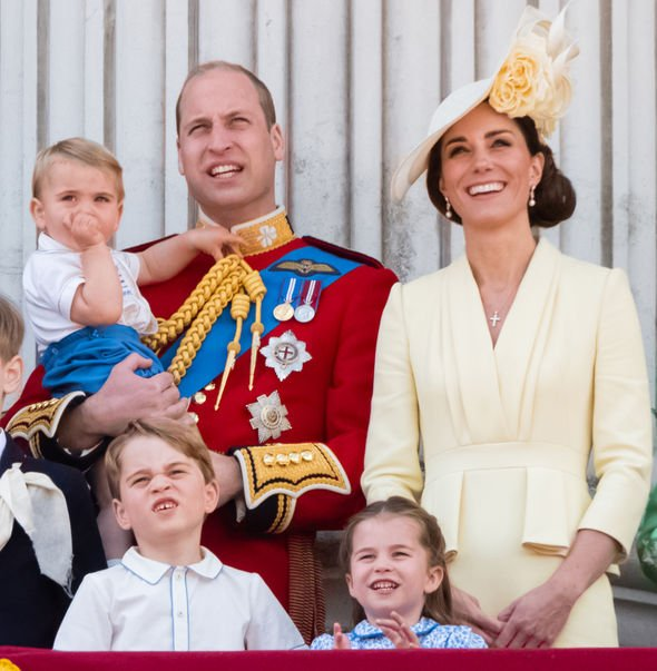 Kate Middleton The whole Cambridge family at the Buckingham Palace balcony on Saturday Image GETTY