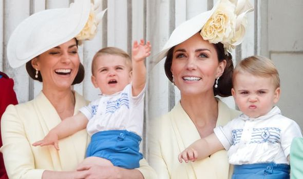 Kate Middleton and Prince Louis at the Trooping of the Colour on Saturday Image GETTY