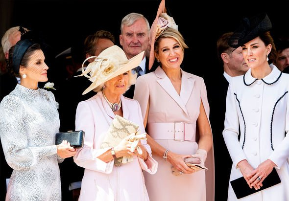 Kate Middleton and Queen Letizia rift Women at the Order of the Garter today in London Image GETTY