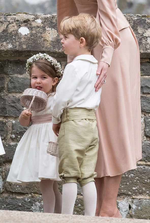 Kate Middleton children Prince George and Princess Charlotte at Pippa Middletons wedding Image GETTY