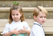 Kate Middleton children Prince George and Princess Charlotte at Princess Eugenies wedding Image GETTY