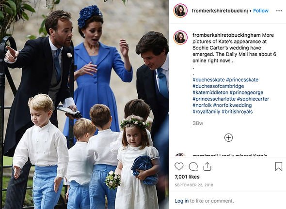 Kate Middleton children The Cambridge family at Sophie Carters wedding Image INSTAGRAM FROM BERKSHIRE TO BUCKINGHAM
