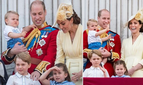 Kate and William with their children George Charlotte and Louis at Trooping the Colour Image GETTY