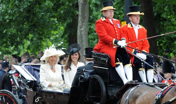 Kate in the carriage with Camilla Duchess of Cornwall Image GETTY