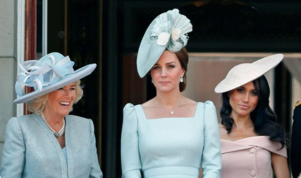 Kate on the balcony with Camilla Duchess of Cornwall and Meghan Duchess of Sussex Image GETTY