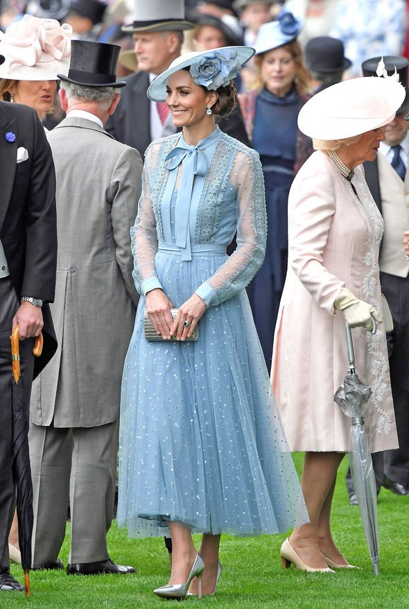 Kate stuns in a £ blue Ellie Saab ensemble of macramé lace blouse and matching tulle skirt Image REUTERS Toby Melville