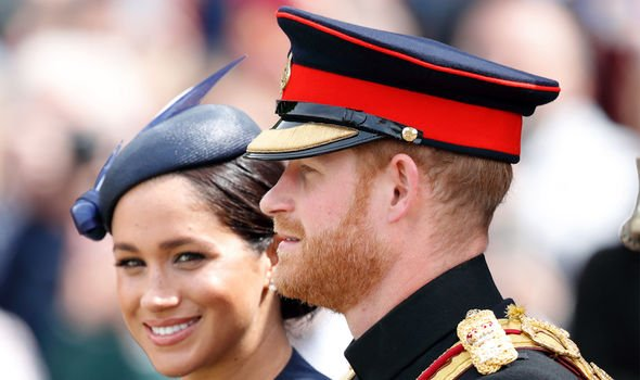 Meghan Markle and her husband Prince Harry attend the annual Trooping the Colour parade Image GETTY