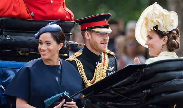 Meghan Markle shared an open carriage with husband Prince Harry and Kate Duchess of Cambridge Image GETTY