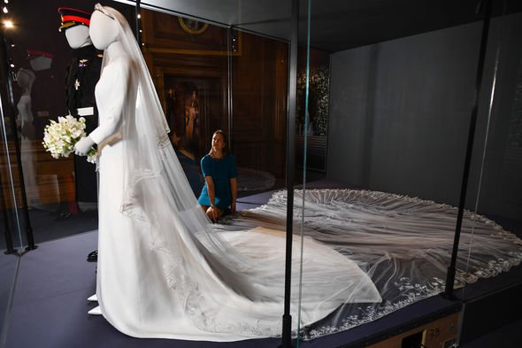 Meghans veil is embroidered with the national flowers of the Commonwealth nations Image GETTY