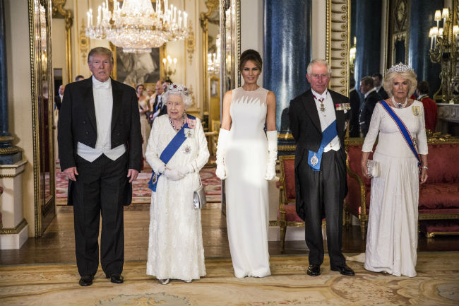Melania Trump looked stunning in a formal white gown Photo C Getty Images