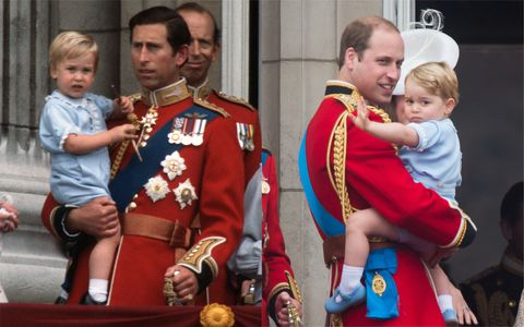 Prince George borrowed his father's Trooping the Colour outfit for his debut in GETTY IMAGES