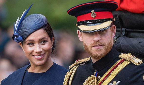 Prince Harry appeared next to Meghan at the Trooping The Colour this weekend Image GETTY