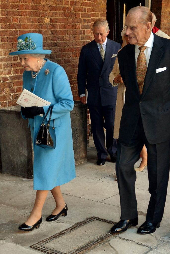 Prince Philip and the Queen are pictured at Prince Georges christening in Photo Getty Images