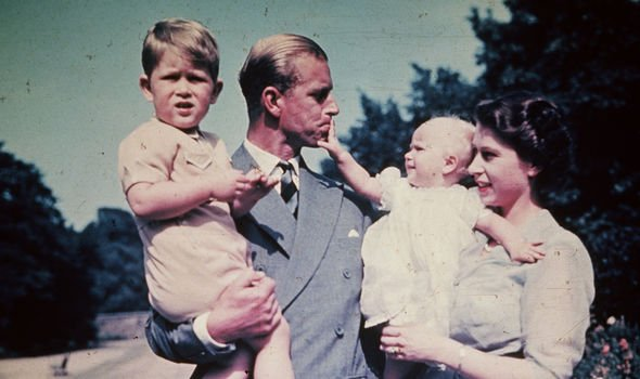 Prince Philip and the Queen with Prince Charles and Princess Anne Image GETTY