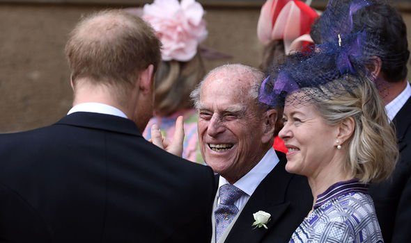Prince Philip enjoying a conversation Image GETTY