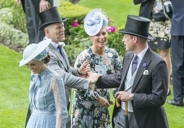 Prince William shares a laugh with his cousin Zaras husband Mike Tindall as Kate giggles Image Rex
