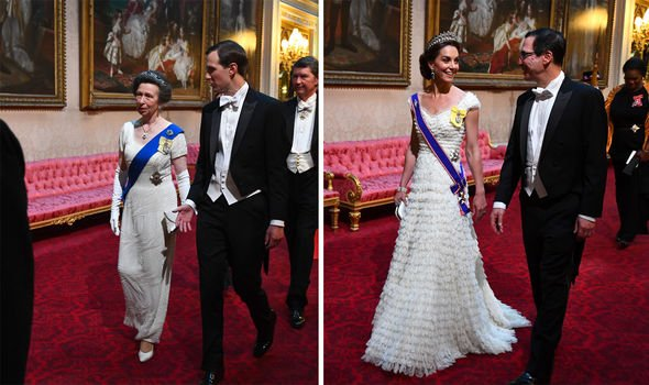 Princess Anne and the Duchess of Cambridge also wore white for the banquet Image Getty