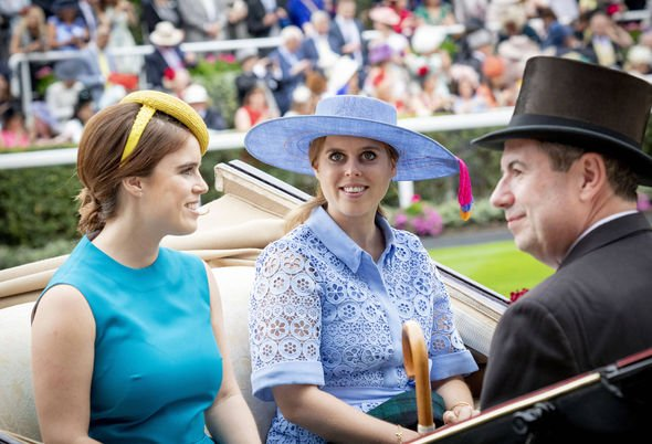 Princess Beatrice and Princess Eugenie ride in their coach Image Dana Press Photos PA