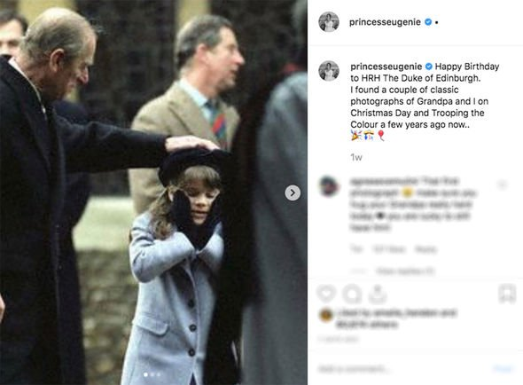 Princess Eugenie Instagram Eugenie also added a birthday tribute to her grandfather Prince Philip Image INSTAGRAM PRINCESS EUGENIE