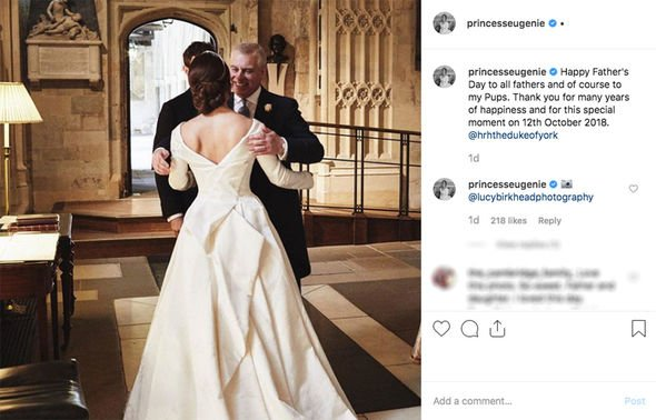 Princess Eugenie Instagram Eugenie shared this cute snap of her father Prince Andrew Image INSTAGRAM PRINCESS EUGENIE
