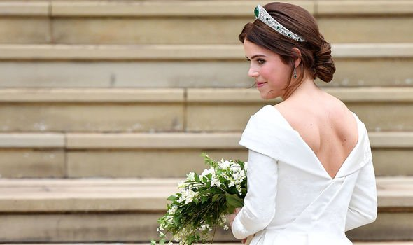 Princess Eugenie Instagram Eugenies dress was designed with a low back to show off her scar Image GETTY