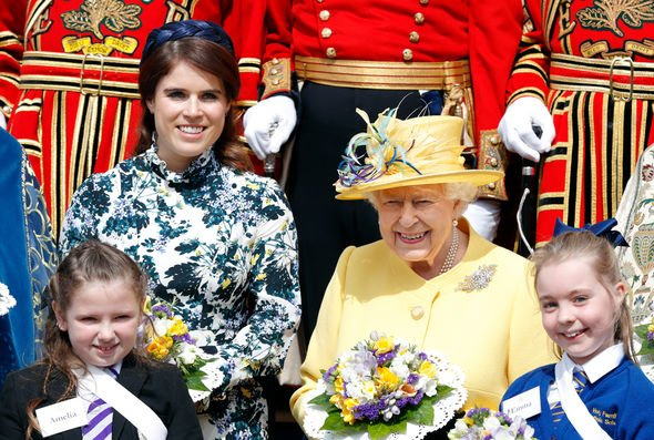 Princess Eugenie news Princess Eugenie and the Queen at the Royal Maundy Service Image GETTY