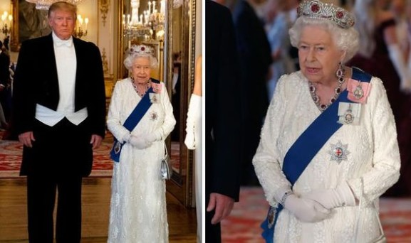 Queen Elizabeth II and Donald Trump at the state banquet earlier this month Image Getty