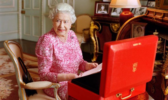 Queen Elizabeth II in her audience room at Buckingham Palace Image Getty