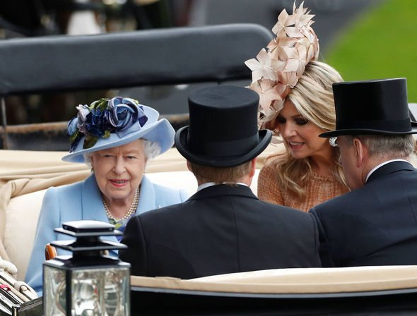 Queen Maxima arrived with Queen Elizabeth in the royal procession Image REUTERS