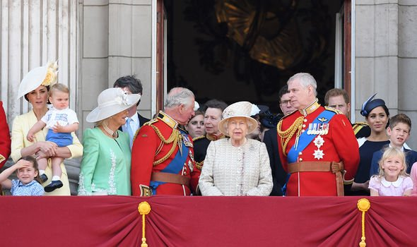 Royals appearing at Trooping The Colour the Queens annual birthday parade Image GETTY