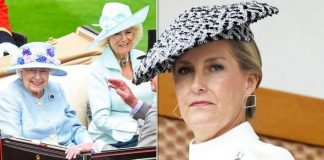 Sophie Countess of Wesse Prince Edward wife Royal Ascot look compared to wallpaper Image GETTY