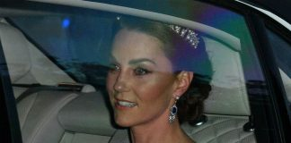 The Duchess of Cambridge arrived at the banquet on Monday night Photo C GETTY IMAGES