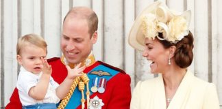 The Duke and Duchess with Prince Louis at last weekends Trooping the Colour Image Getty