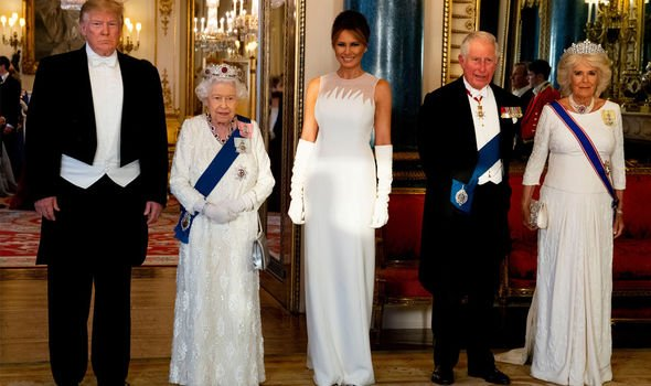 The QUeen Prince Chalres and Camilla with Donald and Melnia Trump Image Getty